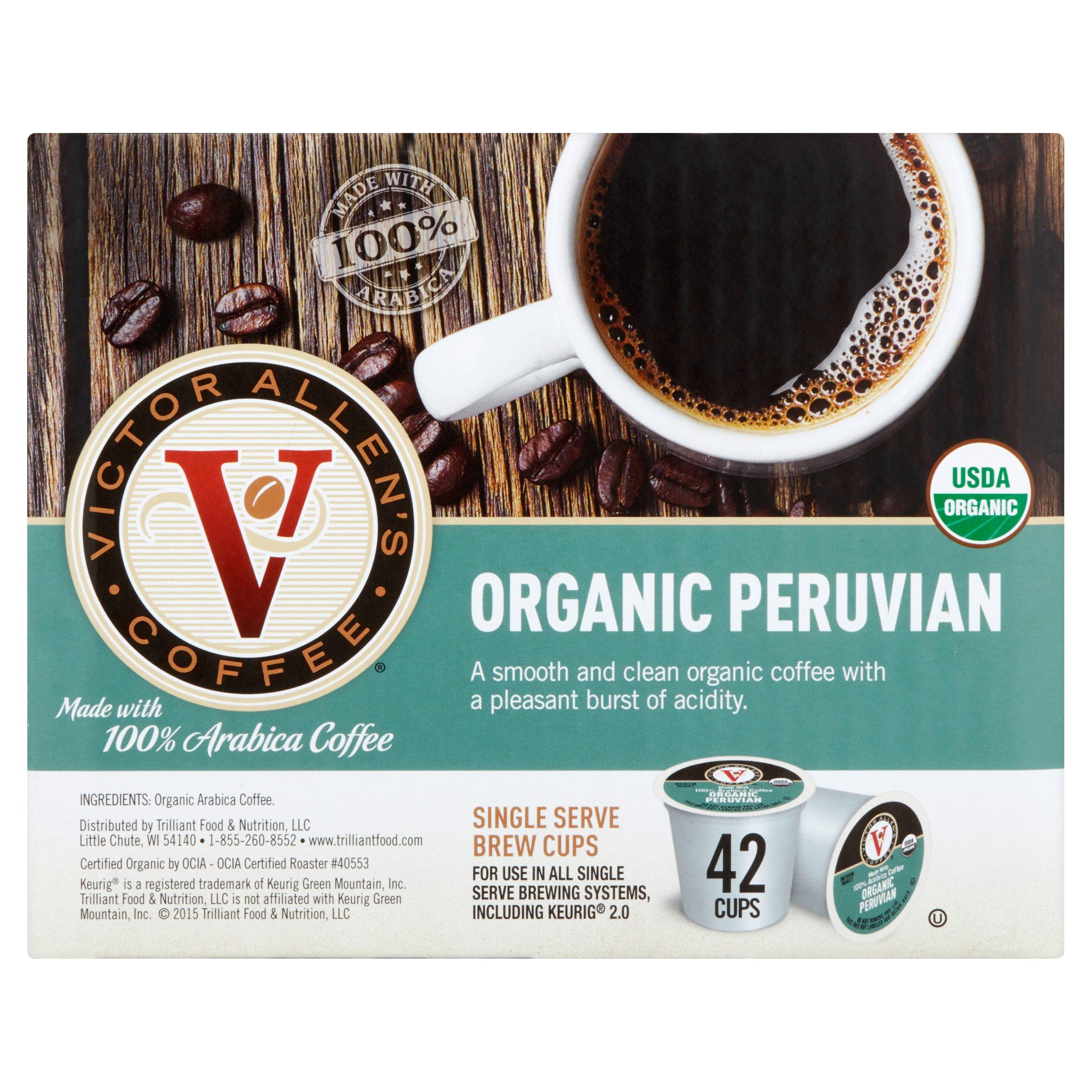 Victor Allen's Coffee Medium Roast Organic Peruvian Single Serve Brew Cups, 0.35 oz, 42 count