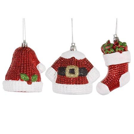 6ct Shiny Shatterproof Santa Claus Hat Jacket and Stocking Christmas Ornaments