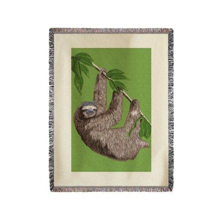 Three Toed Sloth   Letterpress   Lantern Press Artwork  60X80 Woven Chenille Yarn Blanket