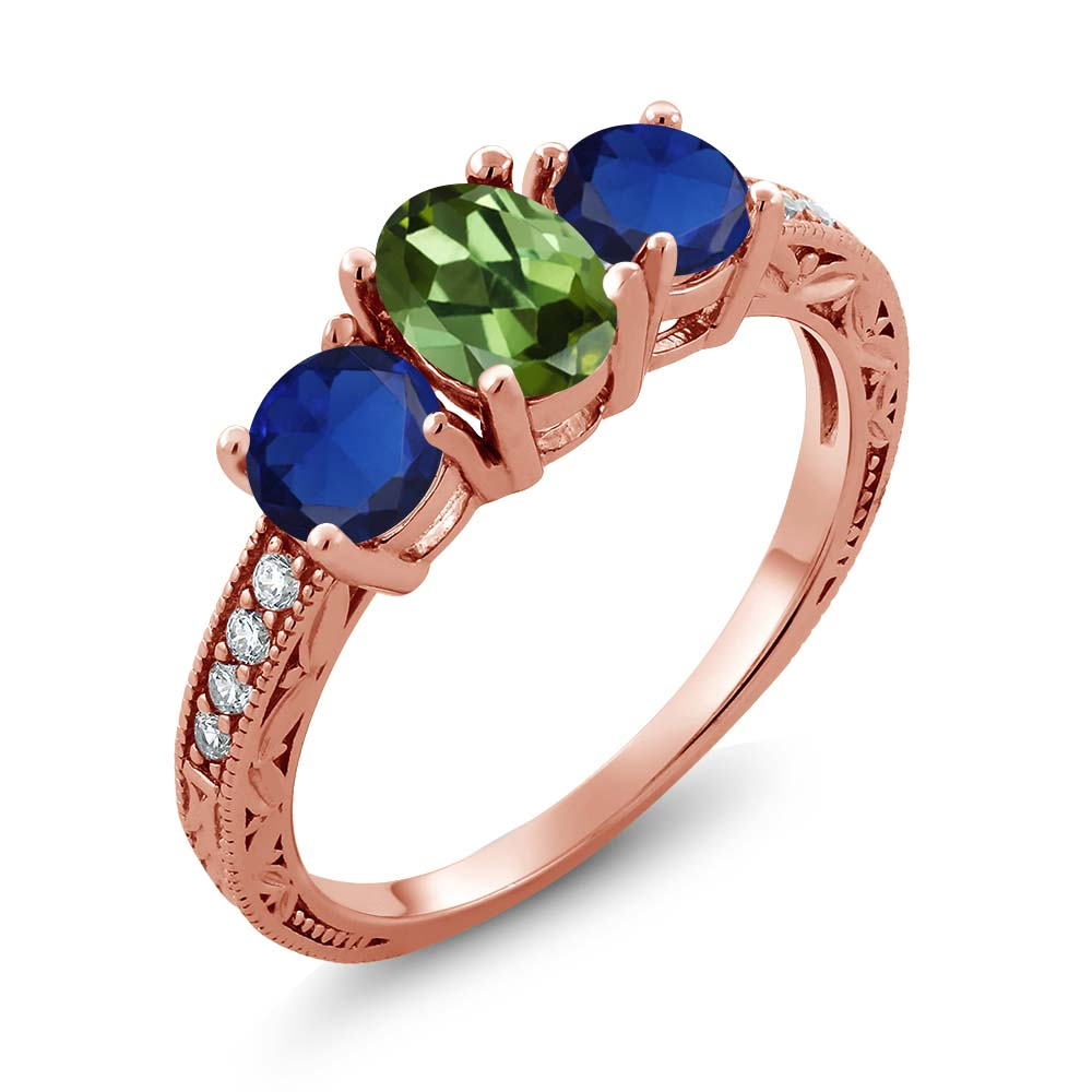 2.02 Ct Oval Green Tourmaline Blue Simulated Sapphire 18K Rose Gold Ring by