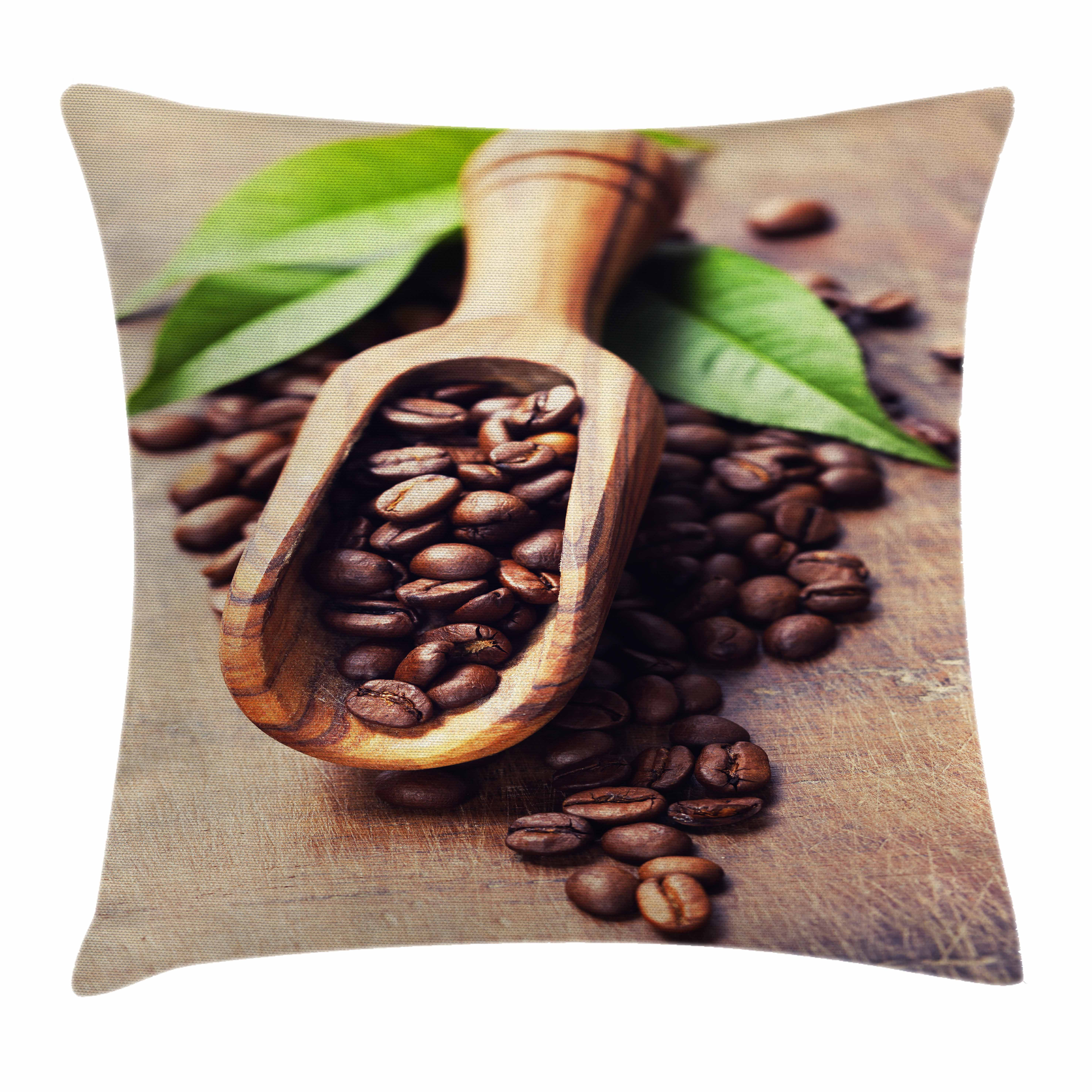 Coffee Throw Pillow Cushion Cover, Beans on the Old Table Morning Drink Waking Up Rustic Theme Leaves Beans, Decorative Square Accent Pillow Case, 18 X 18 Inches, Pale Caramel Green, by Ambesonne