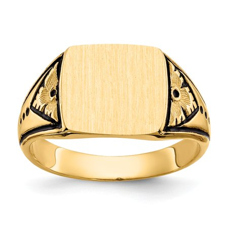 Roy Rose Jewelry 14K Yellow Gold Antiqued Signet Ring - Size: 6