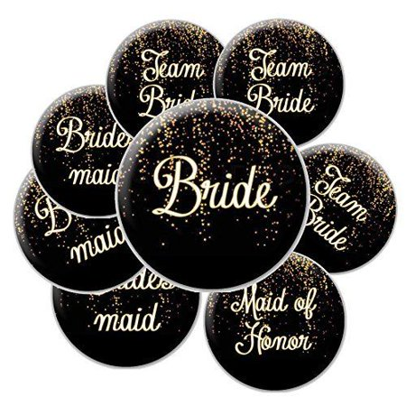 Team Bride Button (16 Black and Gold Sparkle Team Bride Buttons - Bachelorette Buttons - Bridal Party)
