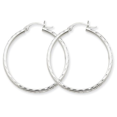 14k White Gold Polished D/C Round Hollow Tubular Hoop Earrings 2mm x 35mm