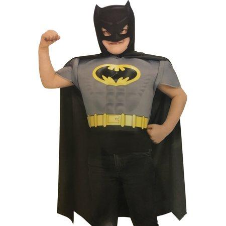 Comic Book Drawing Halloween Costume (Boy's Batman Grey Comic Book Superhero Muscle Chest Costume Small)