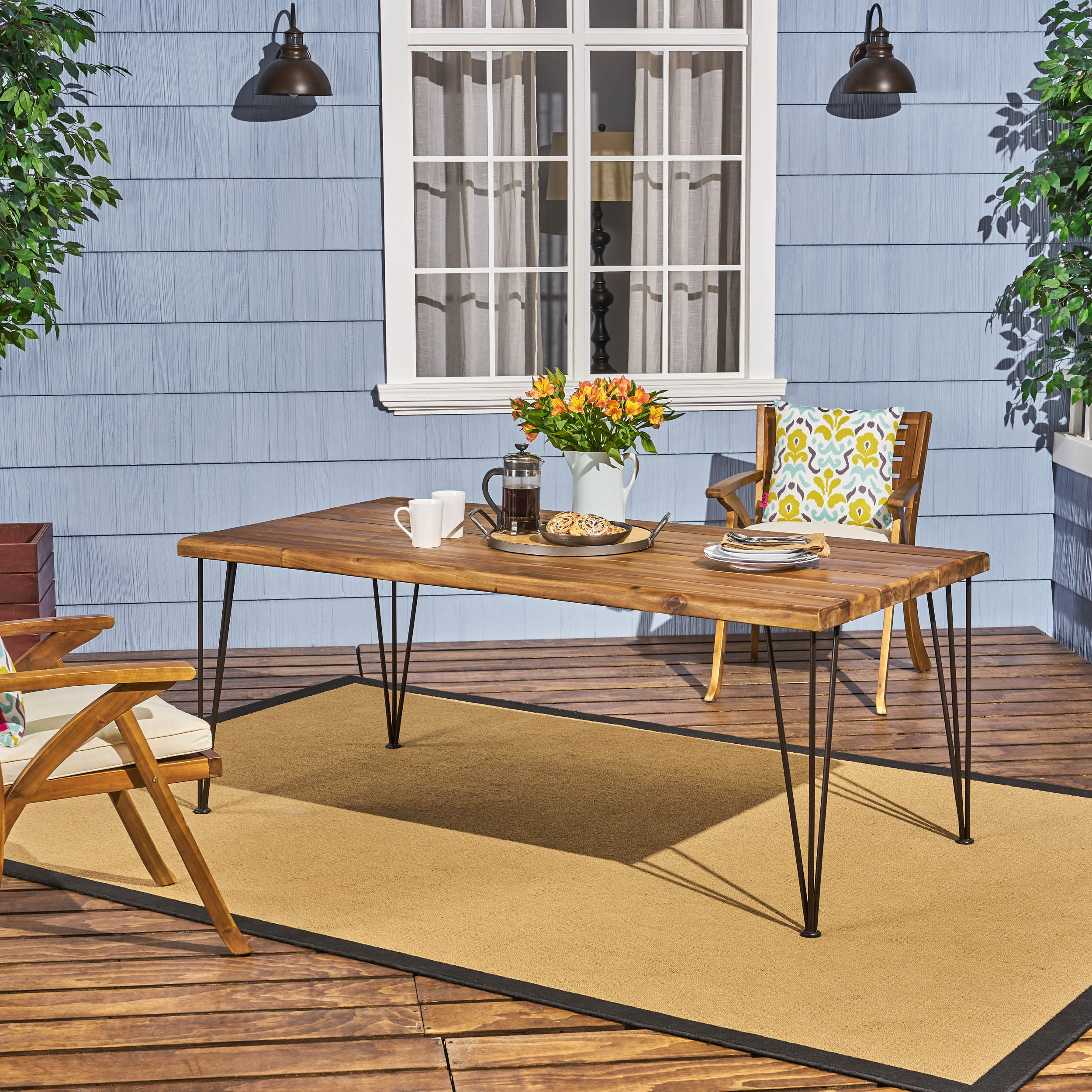 Joy Zion Outdoor Acacia Wood Rectangular Dining Table with Iron Hairpin Legs, Teak, Rustic Metal by Noble House