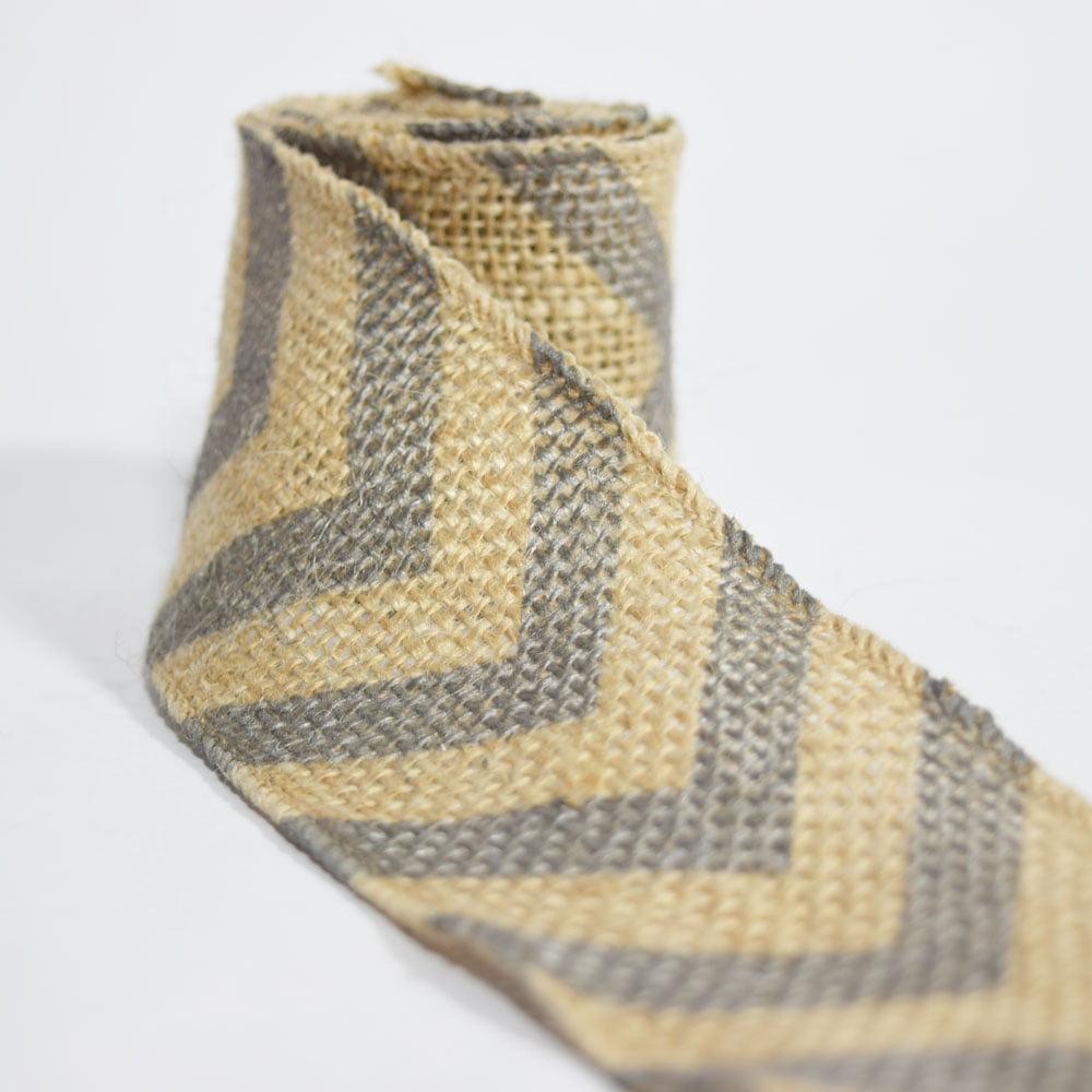 Quasimoon Burlap Fabric Wrap Roll w/ Gray / Grey Chevron Pattern (2.4 x 6 Ft) by PaperLanternStore