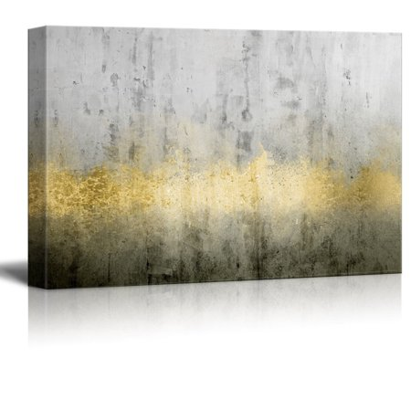 wall26 Canvas Print Wall Art - Abstract Grunge Wall with Golden Paints - Gallery Wrap Modern Home Decor | Ready to Hang - 24