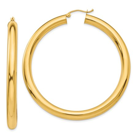 14k Yellow Gold 5mm Tube Hoop Earrings Ear Hoops Set Fine Jewelry For Women Gifts For Her - image 1 of 7