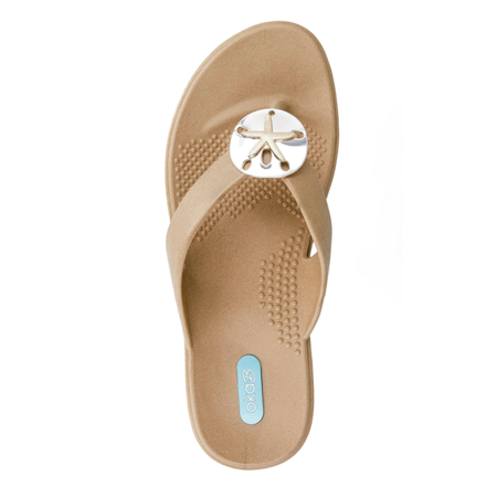 4f216cb51caa44 OkaB - Sandy Flip Flop Sandal Shoes by OkaB Color Chai with Sand Dollar  Pendant (ML) - Walmart.com