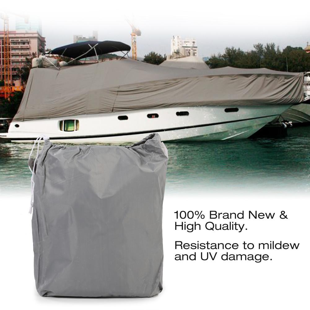 New 600D Oxford Cloth Boat Speedboat Cover For 11-13ft Boat Weather Proof Gray