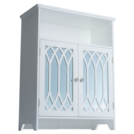 lorraine floor cabinet with two mirrored doors white. Black Bedroom Furniture Sets. Home Design Ideas