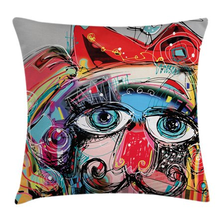 Art Decor Throw Pillow Cushion Cover, Grafitti like Sketchy Colorful Painting with Human like Face Dog Animal Image, Decorative Square Accent Pillow Case, 18 X 18 Inches, Multi Colored, by Ambesonne