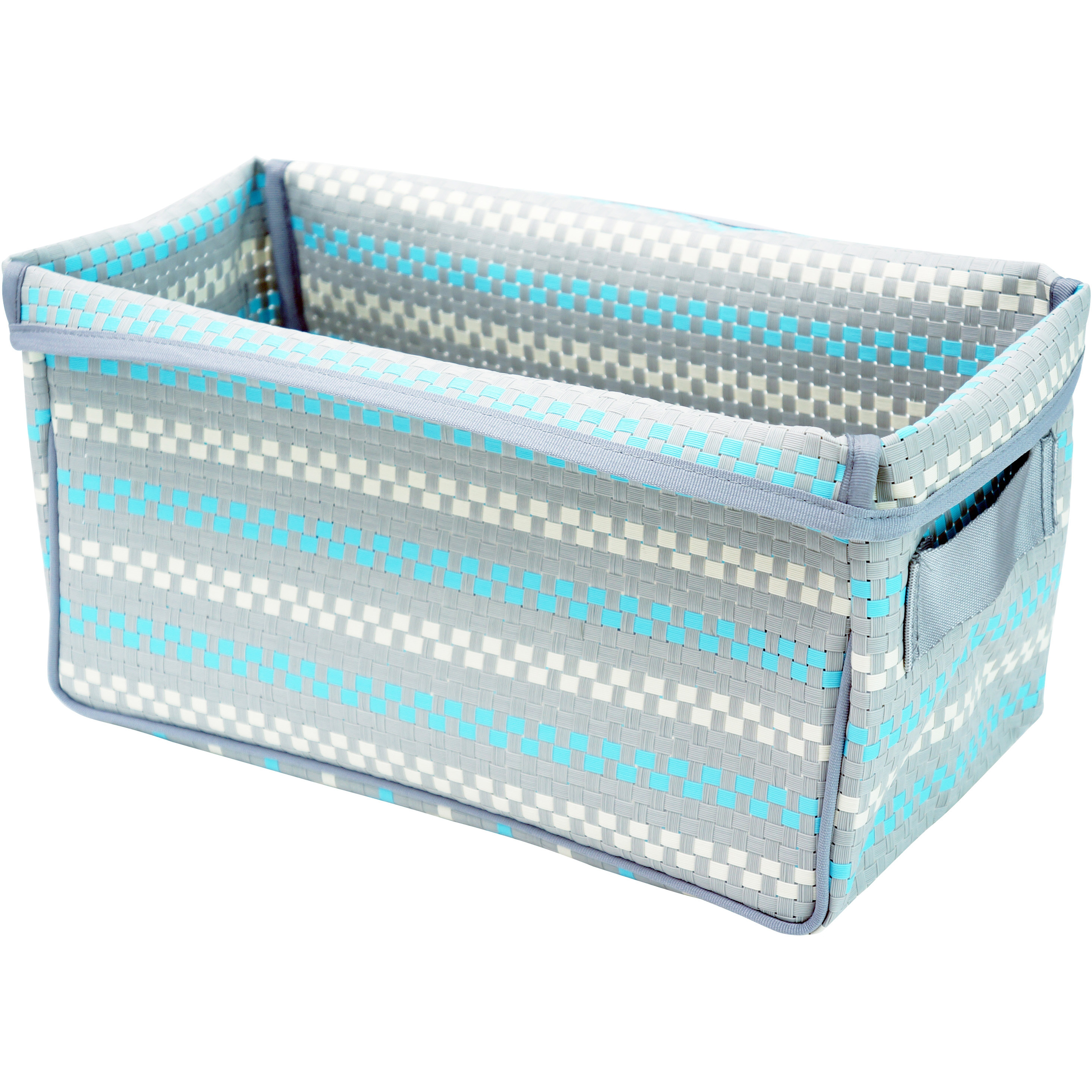 Pivoine Foldable Storage Baskets, 2 Pack, Mosaic Gray and Sky Blue