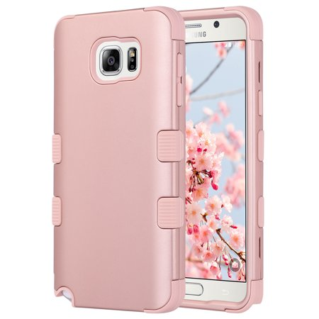 ULAK Galaxy Note 5 Case, Hybrid Soft Silicone Bumper Hard PC Cover Anti Slip Dust Scratch Shock Resistance Protective Case for Samsung Galaxy Note 5 (Rose