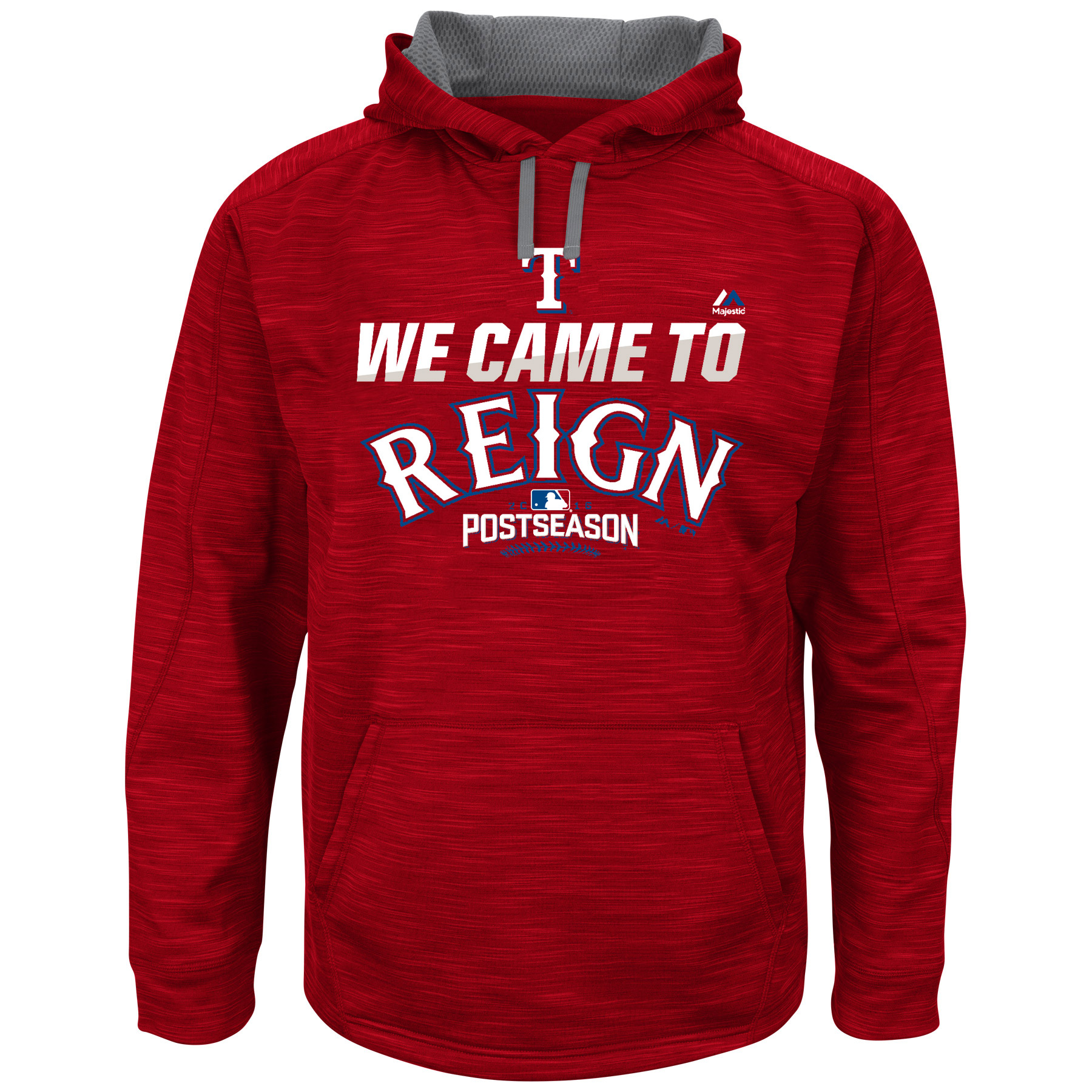 Texas Rangers Majestic 2016 Postseason We Came To Reign Streak Big & Tall Fleece Hoodie - Red