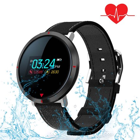 Supersellers Smart Watch Fitness Tracker for Women Men, Waterproof  Touchscreen Leather wristband Round Smart Watchs For Heart Rate Blood  Pressure