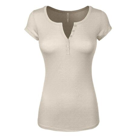 - Made by Olivia Women's Basic Henley Short Sleeve Deep V-Neck Button Placket T-shirt Oatmeal 3XL