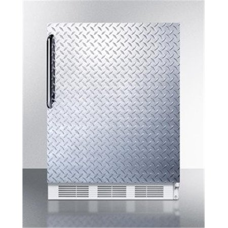 ff61dpl 24 freestanding counter height refrigerator with 5.5 cu. ft. capacity  automatic defrost  adjustable glass shelves  wine shelf  crisper and diamond plate door/towel bar handle (Bar Fridge 24)