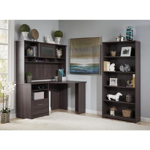 Bush Furniture Cabot Corner Desk with Hutch and 5 Shelf Bookcase Cabot Corner, Hutch, 5 Shelf-Harvest Cherry
