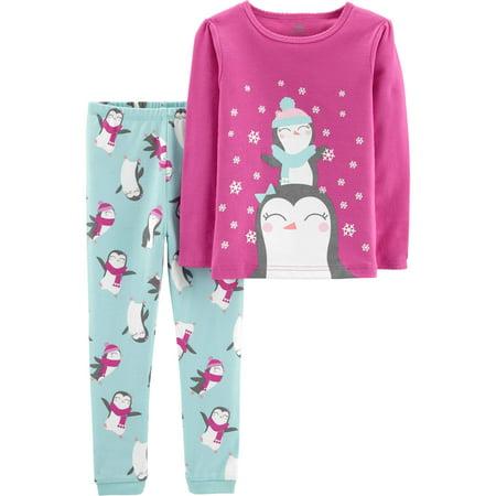 christmas penguin long sleeve cotton tight fit pajamas 2 piece set baby girls