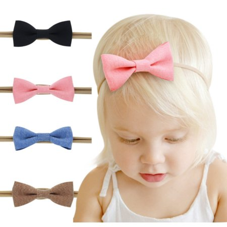4 Pcs Cute Girl Baby Toddler Infant Flower Headband Hair Bow Band Accessories by Tika