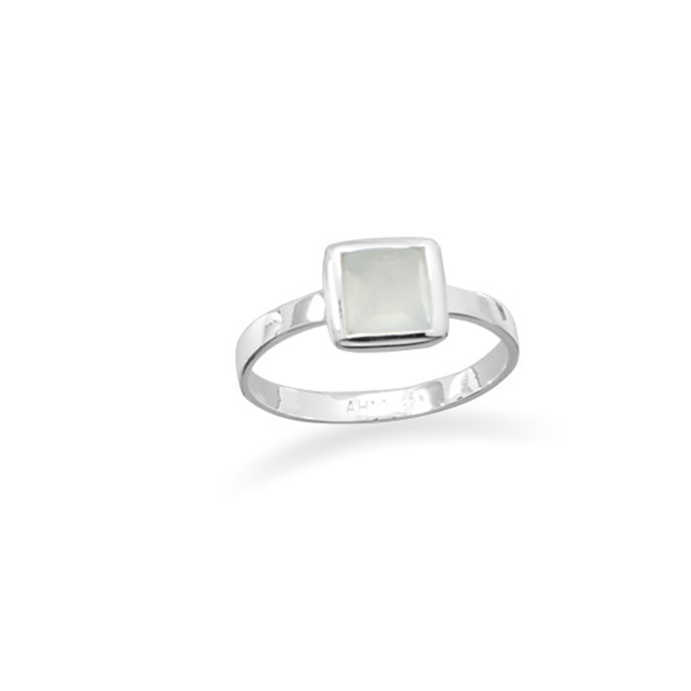 Synthetic Green Chalcedony Stackable Ring Square Sterling Silver, Sizes 5 to 9 by unknown