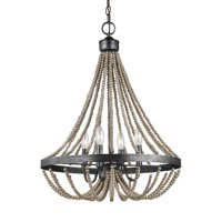 """Sea Gull Lighting 3101904 Washed Pine Oglesby 4 Light 20"""" Wide Beaded Empire Chandelier"""