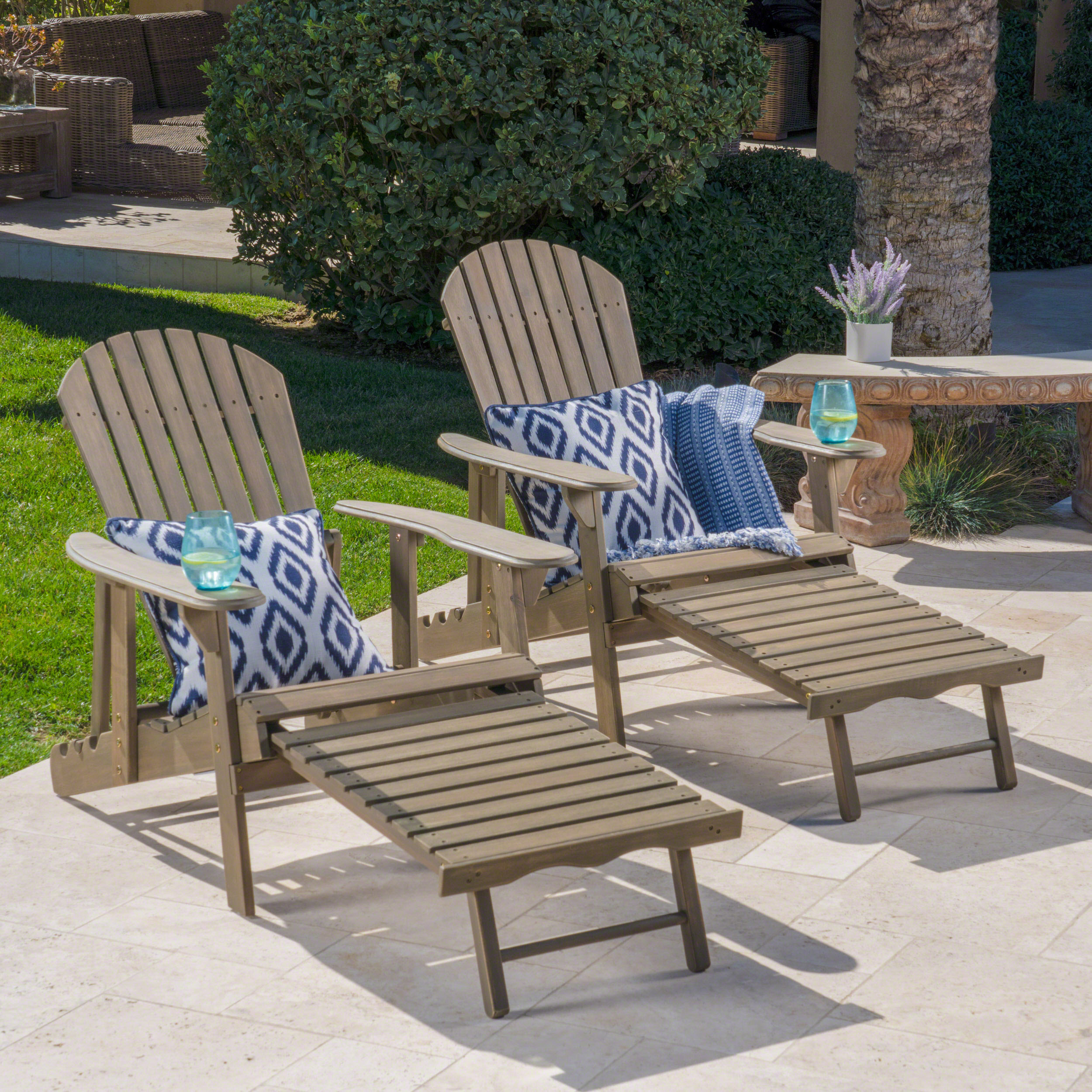 Munoz Reclining Wood Adirondack Chair With Footrest, Set Of 2, Grey