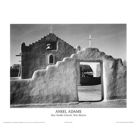Taos Pueblo Church New Mexico Mini Poster By Ansel Adams - (Pueblo Mall)