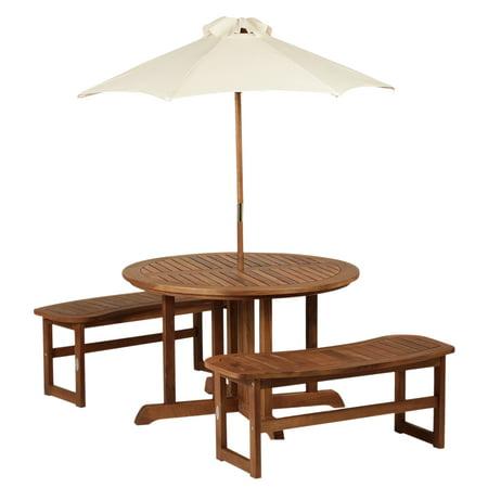 Sensational Outsunny Patio Kids Picnic Table Set With Umbrella 4 Seats Garden Yard Bench Activity Center Download Free Architecture Designs Scobabritishbridgeorg