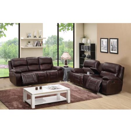 Cosmo Brown Top Grain Leather Reclining Sofa Loveseat 578 Product Photo