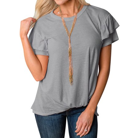 Nlife Women Ruffle Sleeve Round Neck Pure Color T-shirt