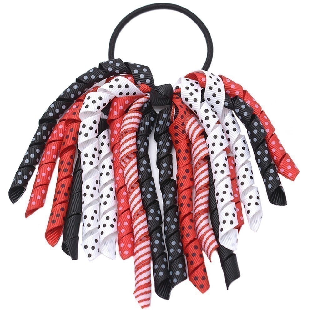 Girls Red Lady Bug Korker Bow Grosgrain Curled Ribbon Pony Holder