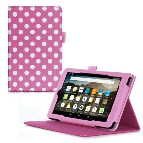 Fire 7 2015 Case, roocase Dual View Amazon Fire 7 2015 PU Leather Folio Case Cover with Stand for Amazon Fire 7 Tablet 2015, Polkadot Pink