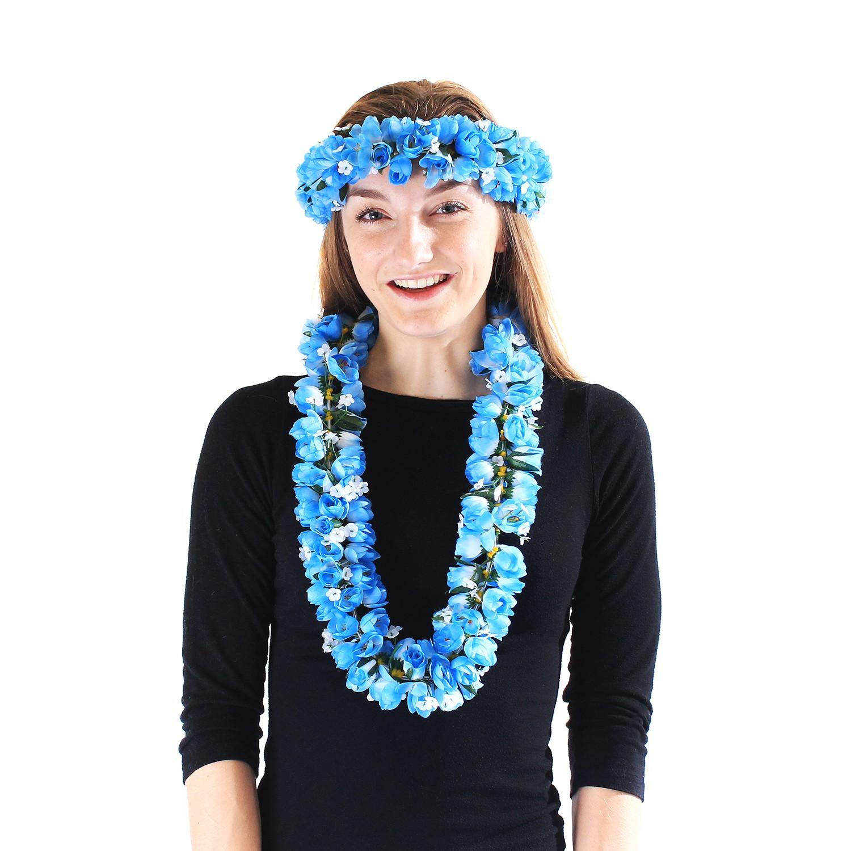 Hawaiian Luau Party Kapiolani Tuberose Fabric Flower Matching Lei and Head band Haku Yellow