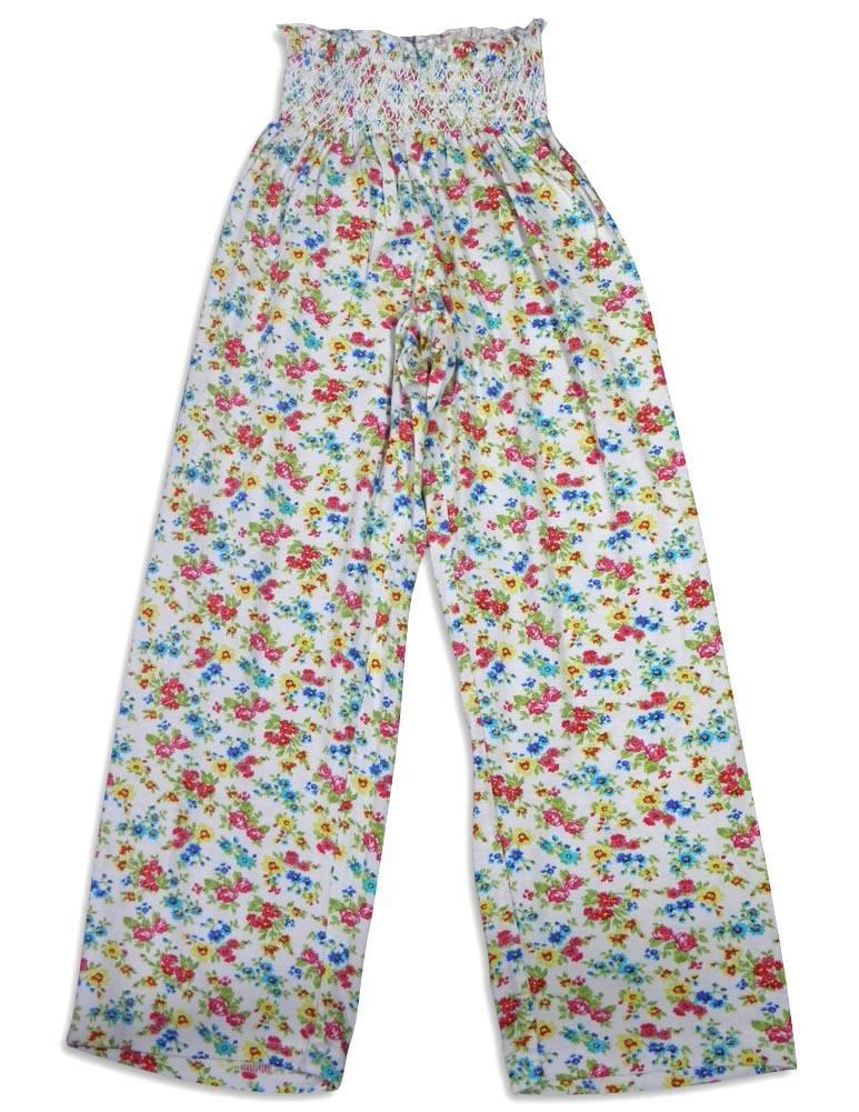 Bee Posh Girls and Ladies / Womens Cozy Knit Pajama Lounge Sleep Pant, 25539 white olivia / Large