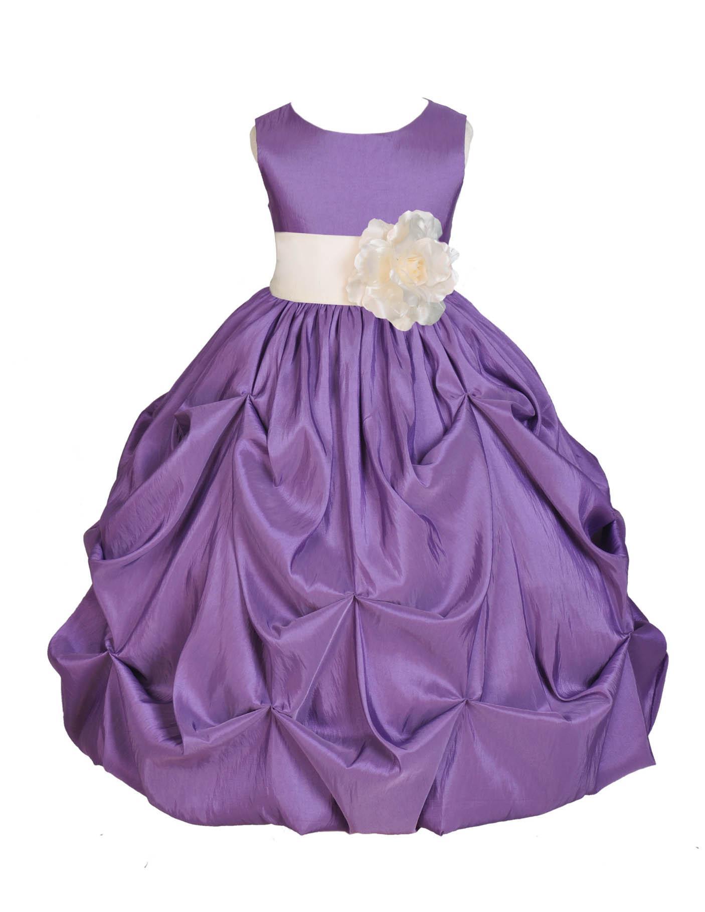 Ekidsbridal Purple Bubble Pick-up Taffeta Flower Girl Dress Christmas Bridesmaid Wedding Pageant Toddler Recital Easter Holiday Communion Birthday Baptism Occasions 301s
