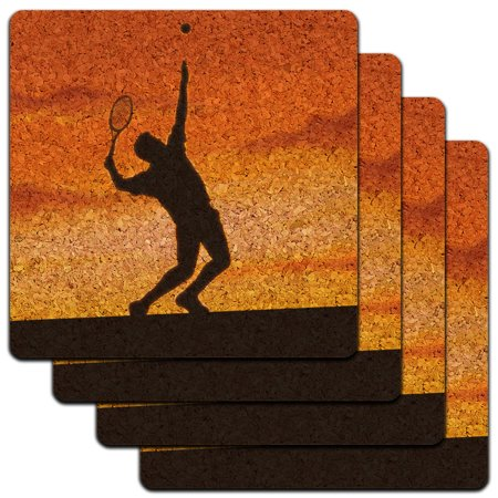 Tennis Coaster - Tennis Sunset Sport Low Profile Cork Coaster Set