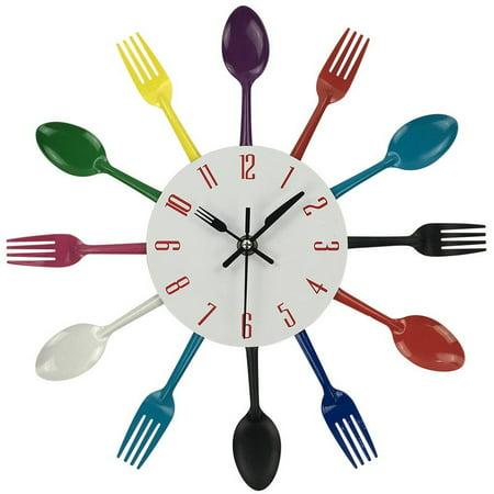 Tuscom Multicolor Home Decoration Cutlery Kitchen Utensil Spoon Fork Clock Wall Clock ()