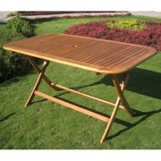 International Caravan Royal Tahiti Folding 59 in. Patio Dining Table