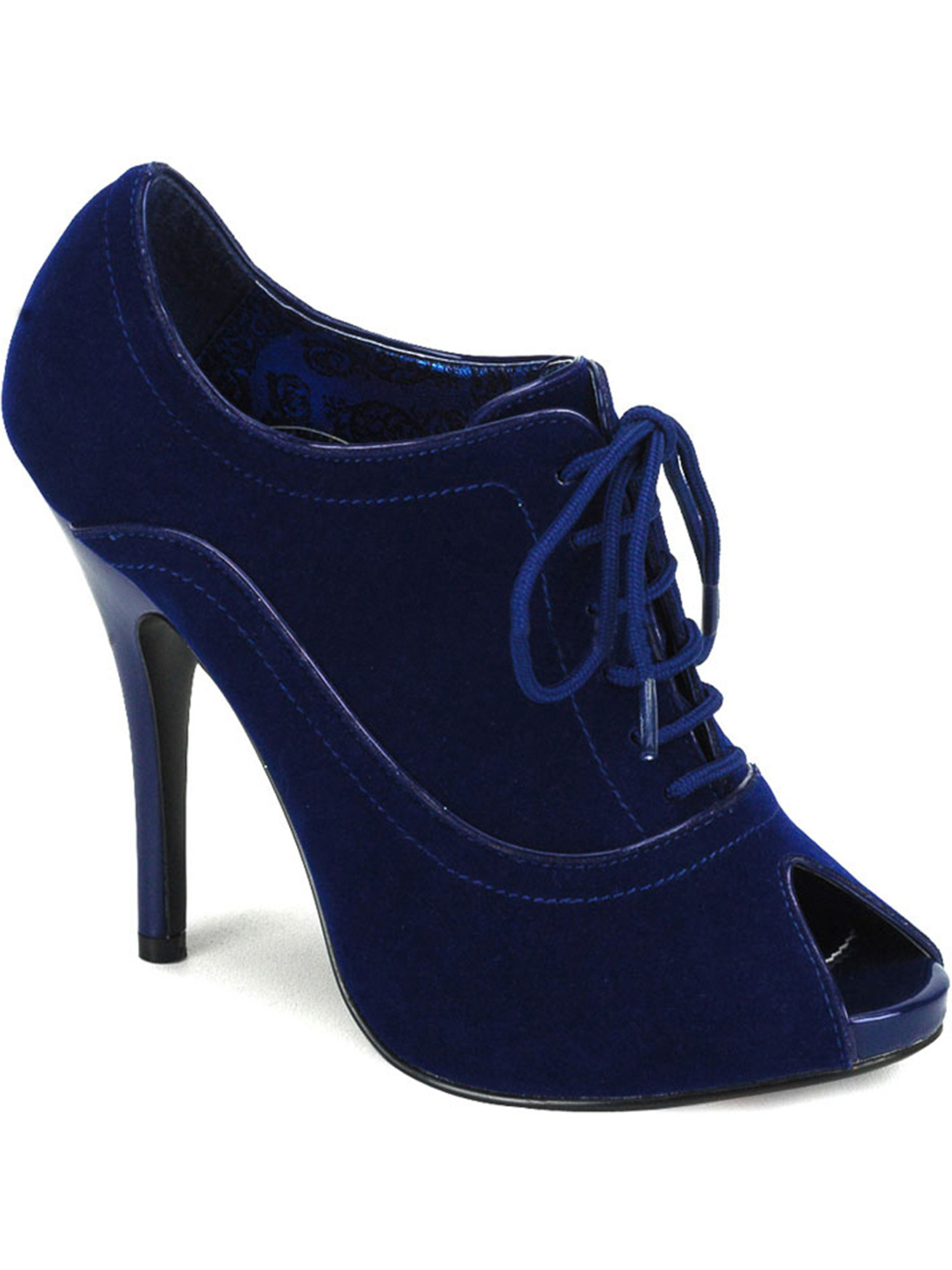 Womens Blue Velvet Peep Toe Ankle Booties with 4.75 Inch Heel and Lace Up Front