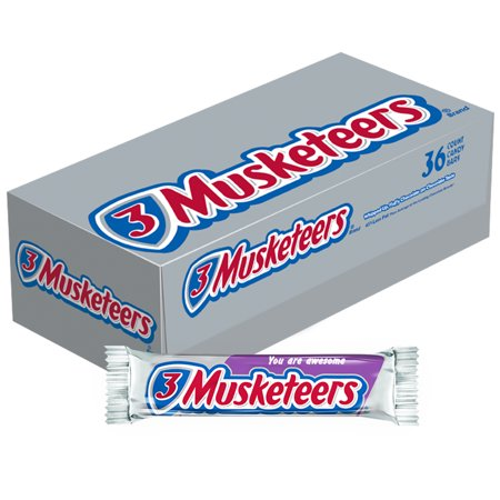3 Musketeers Full Size Chocolate Candy Bars, 1.92 Oz., 36 Count (Musketeer Cape)