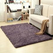 "BadPiggies Super Soft Fluffy Rugs Anti-Slip Shaggy Area Rug Carpet Rectangle Floor Mat For Dining Room Home Bedroom""39""X63"",Purple"""