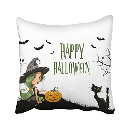 WinHome Happy Halloween Cute Witch And Pumpkin Black Cat And Trees And Bats Decorative Pillowcases With Hidden Zipper Decor Cushion Covers Two Sides 18x18 inches (Pumpkin And Halloween)