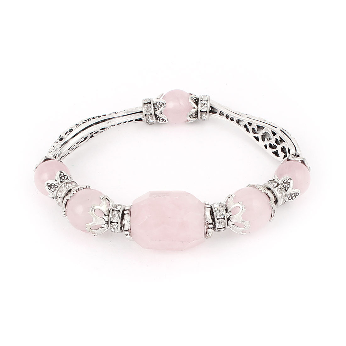 Silver Tone Fish Shape Pink Faceted Stone Decor Bracelet Bangle for Lady - image 2 of 2