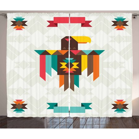 Southwestern Curtains 2 Panels Set, Ethnic Composition with an Eagle in Native American Style Folk Totem Symbol, Window Drapes for Living Room Bedroom, 108W X 84L Inches, Multicolor, by Ambesonne