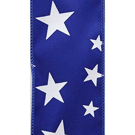 2-1/2-inch Offray Wired Star Spirit Ribbon, 10 Yard Spool - Royal Blue with White Stars](Star Wars Ribbon)