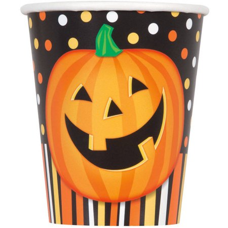 Smiling Pumpkin Halloween Paper Cups, 9oz, 8ct - Halloween Entertaining Serveware