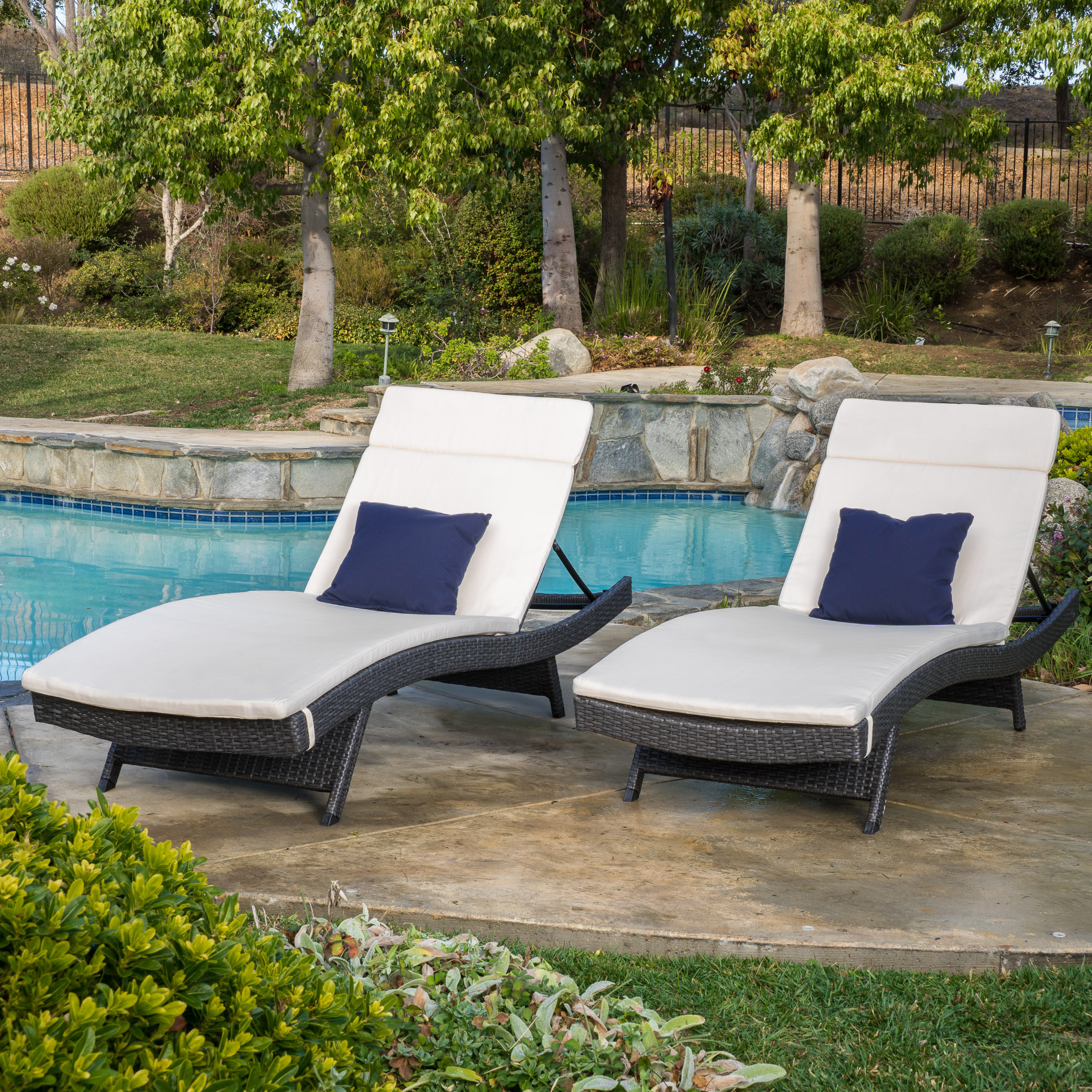 Anthony Outdoor Wicker Adjustable Chaise Lounge with Cushion, Set of 2, Grey, Beige